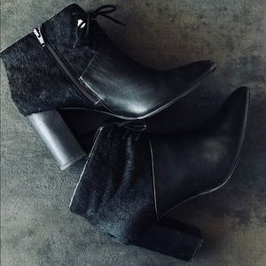 Seychelles Black Leather Pony Hair Booties